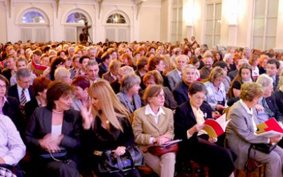 The audience of ZAGREB KOM 2 festival, in the ceremonial hall of Croatian Music Institute