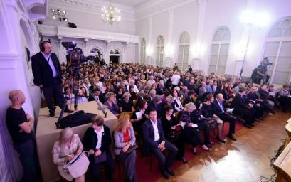 The audience of ZAGREB KOM 7 festival in the ceremonial hall of Croatian Music Institute